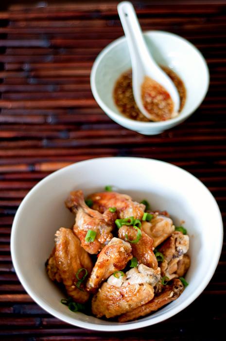 Chicken wings with Momofuku Octo Vinaigrette