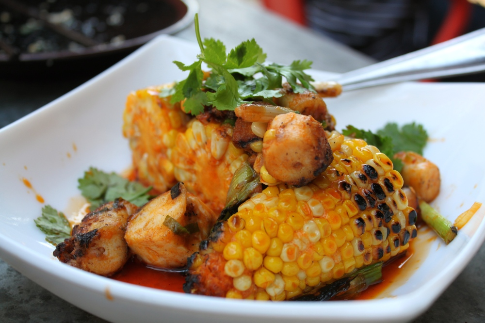 Myers and Chang wok Charred Octopus + Grilled Corn