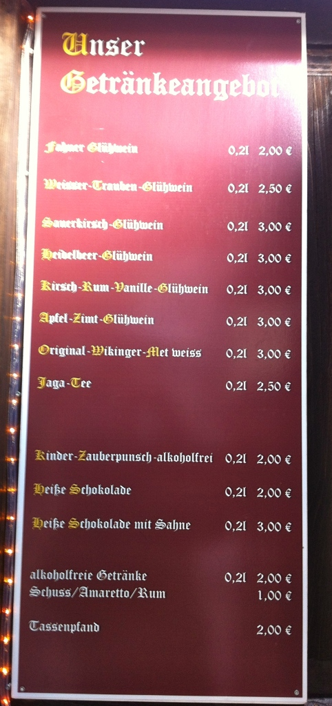 Erfurt's Christmas Market Drink List