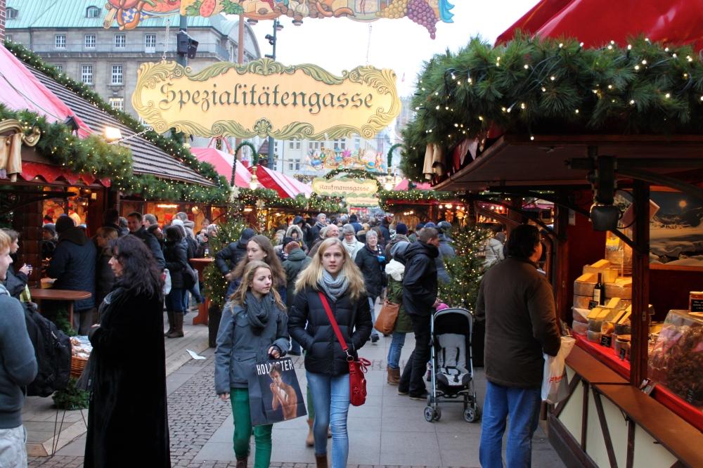 Hamburg Town Hall Christmas Market People