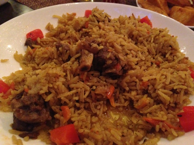Red Square Rice Pilaf with lamb