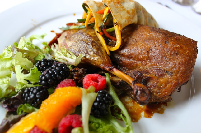 The Olde Pink House Crispy Half Duck, Black Vinegar BBQ Glaze