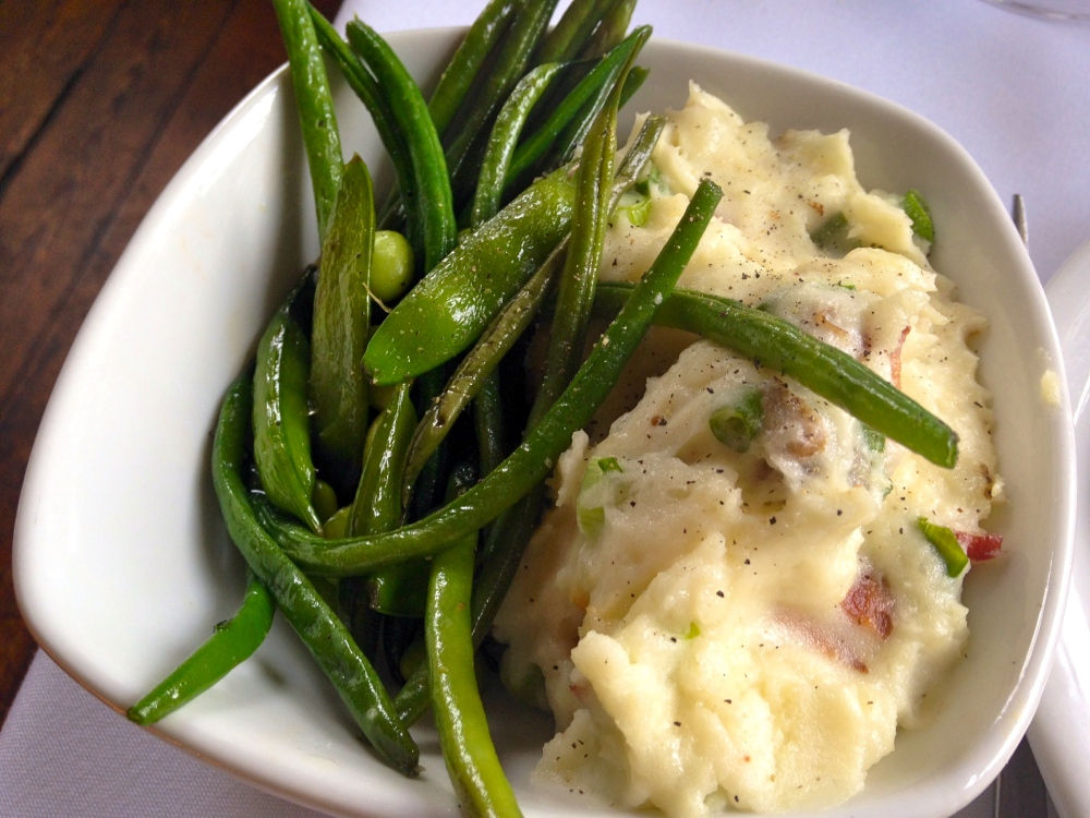 The Olde Pink House Sugar Snaps, Baby Green Beans, Edamame Bacon Buttermilk Whipped Potatoes