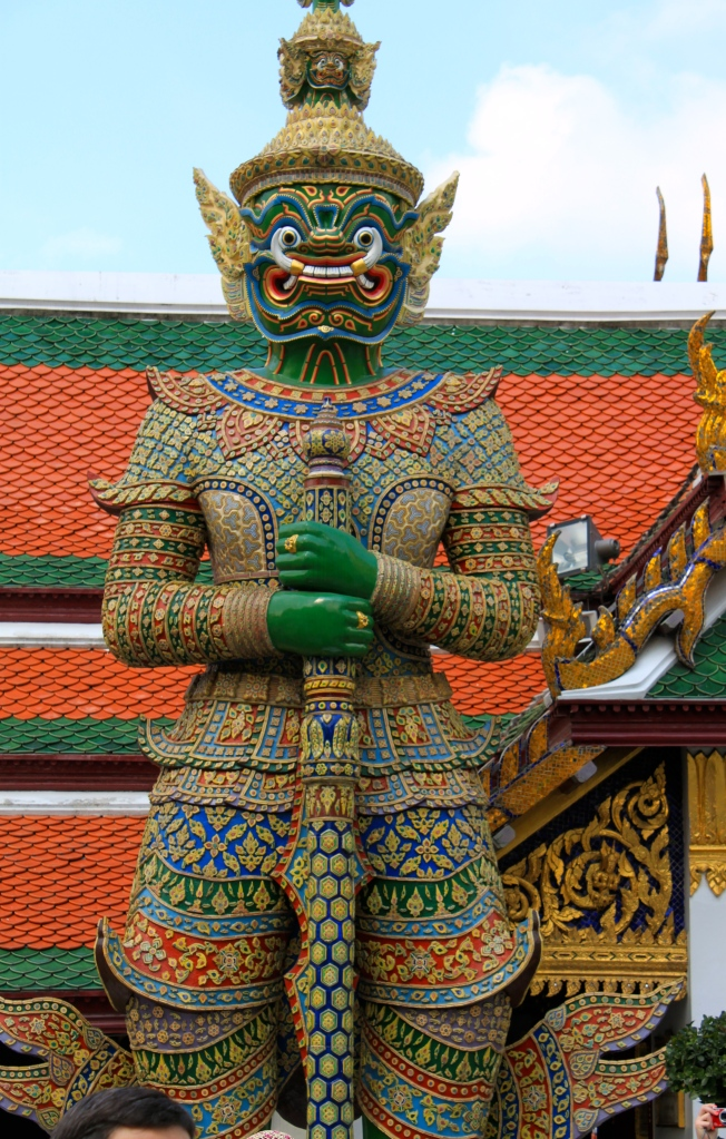 Grand Palace Bangkok Three- Headed Green Guard Statue