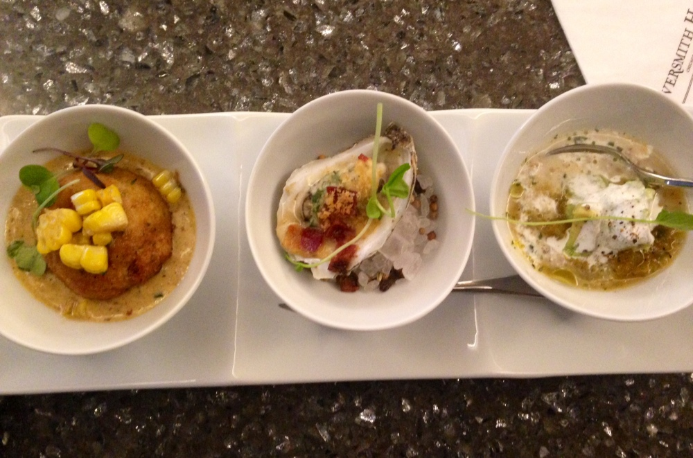 (L to R) Lobster Croquette, Broiled Wianno Oyster, Yellow Tomato Gazpacho