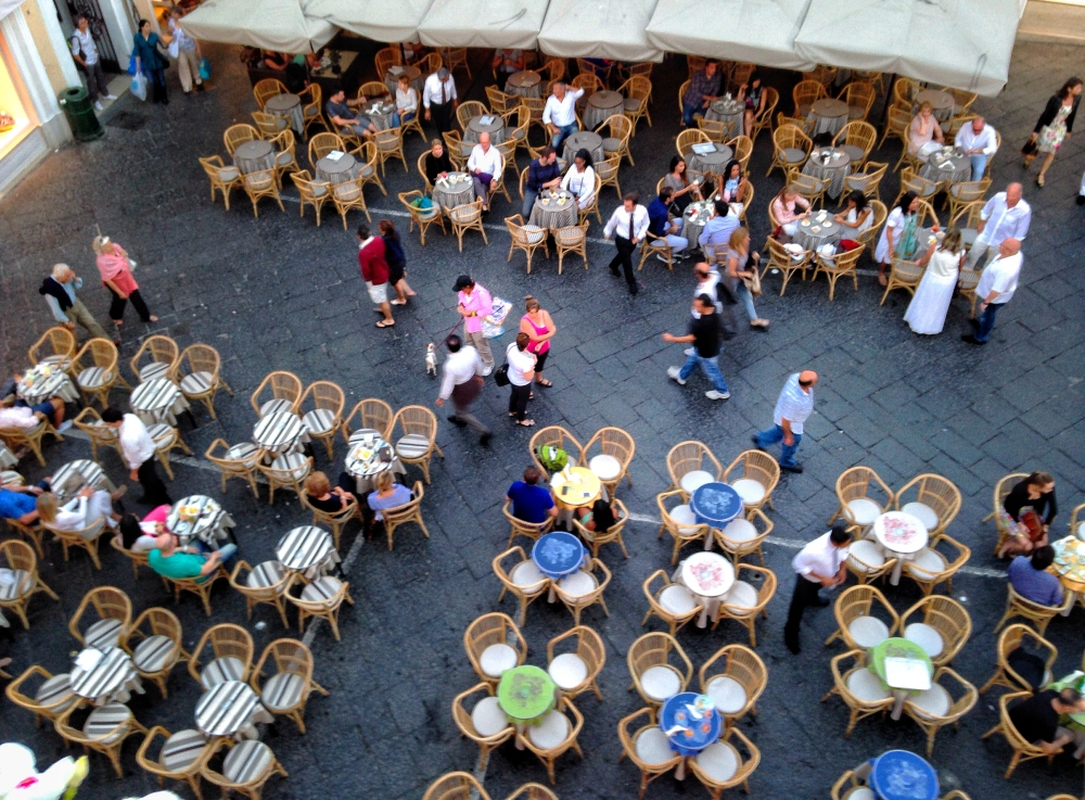 View of Piazza Umberto I (piazzetta) from Pulalli Wine Bar