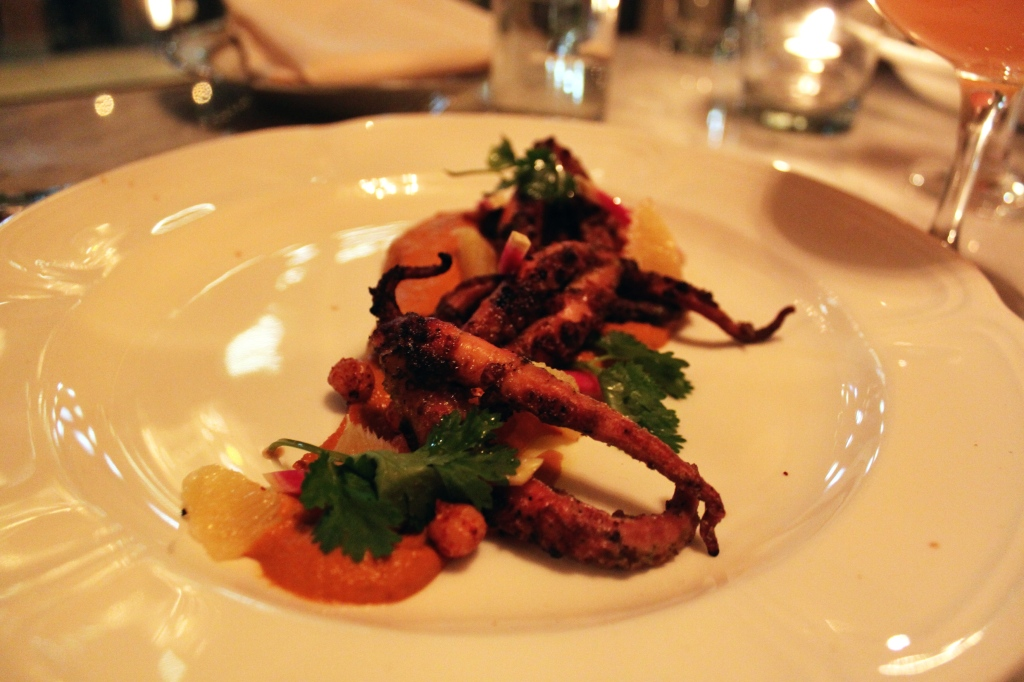 Grilled Baby Octopus , Romesco, Crispy Chickpeas, Shaved Radish,Orange Supremes